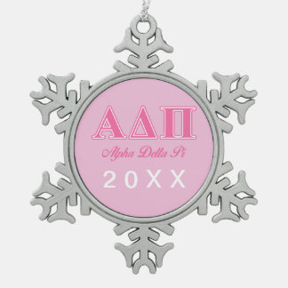 Alpha Delta Pi Pink Letters Snowflake Pewter Christmas Ornament