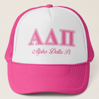 Alpha Delta Pi Pink Letters Trucker Hat