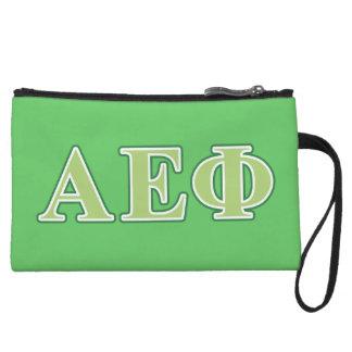 Alpha Epsilon Phi Green Letters 2 Wristlet Purse
