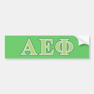 Alpha Epsilon Phi Green Letters 2 Bumper Sticker