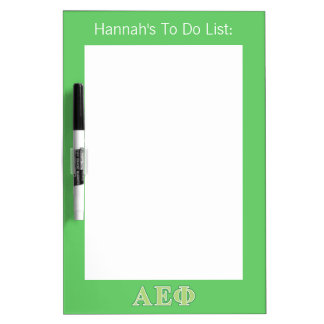 Alpha Epsilon Phi Green Letters 2 Dry Erase Board