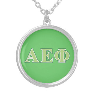 Alpha Epsilon Phi Green Letters 2 Silver Plated Necklace