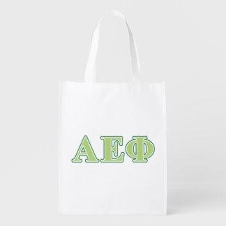 Alpha Epsilon Phi Green Letters 2 Reusable Grocery Bags