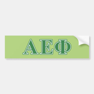 Alpha Epsilon Phi Green Letters 3 Bumper Sticker