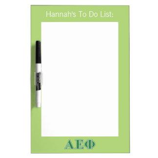 Alpha Epsilon Phi Green Letters 3 Dry Erase Board