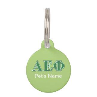 Alpha Epsilon Phi Green Letters 3 Pet Name Tag