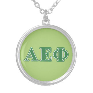 Alpha Epsilon Phi Green Letters 3 Silver Plated Necklace