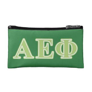 Alpha Epsilon Phi Green Letters Makeup Bags