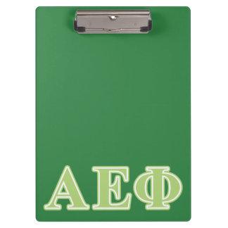 Alpha Epsilon Phi Green Letters Clipboard