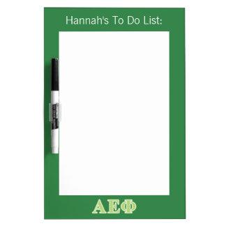 Alpha Epsilon Phi Green Letters Dry Erase Board