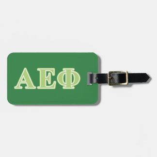 Alpha Epsilon Phi Green Letters Luggage Tag