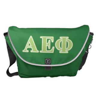 Alpha Epsilon Phi Green Letters Courier Bags