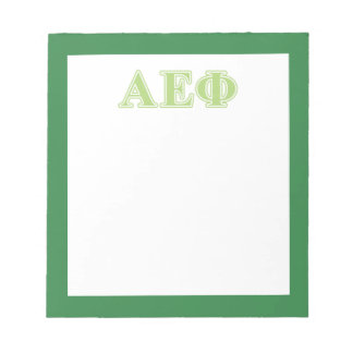 Alpha Epsilon Phi Green Letters Notepad