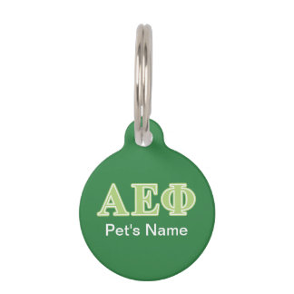 Alpha Epsilon Phi Green Letters Pet Name Tag