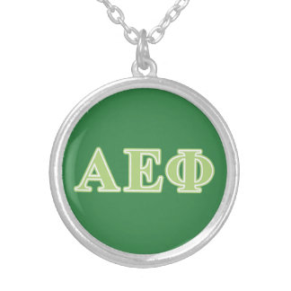 Alpha Epsilon Phi Green Letters Silver Plated Necklace