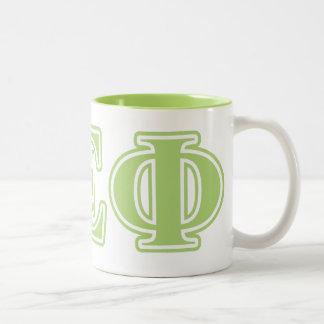 Alpha Epsilon Phi Green Letters Two-Tone Coffee Mug