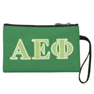 Alpha Epsilon Phi Green Letters Wristlet Clutch