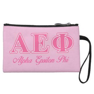 Alpha Epsilon Phi Pink Letters Wristlet Purse