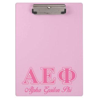 Alpha Epsilon Phi Pink Letters Clipboard