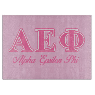 Alpha Epsilon Phi Pink Letters Cutting Board