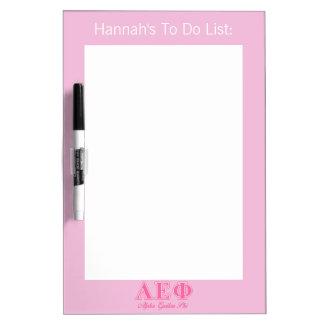 Alpha Epsilon Phi Pink Letters Dry Erase Board