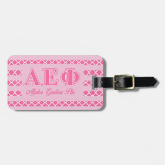 Alpha Epsilon Phi Pink Letters Luggage Tag