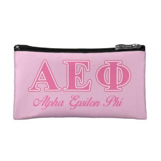Alpha Epsilon Phi Pink Letters Makeup Bags