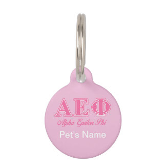 Alpha Epsilon Phi Pink Letters Pet Name Tag