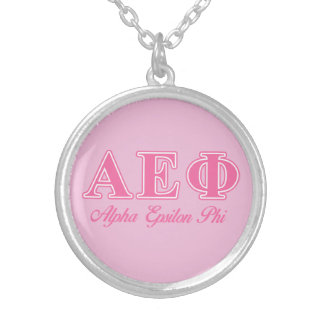 Alpha Epsilon Phi Pink Letters Silver Plated Necklace