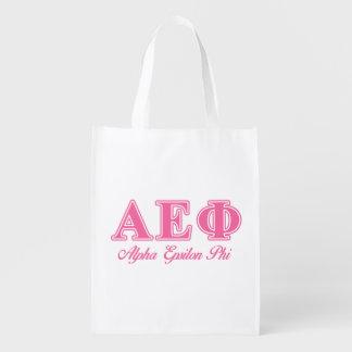 Alpha Epsilon Phi Pink Letters Reusable Grocery Bags
