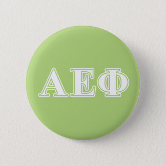 Alpha Epsilon Phi White and Green Letters 6 Cm Round Badge