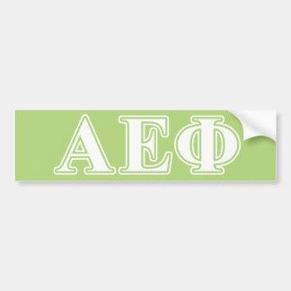 Alpha Epsilon Phi White and Green Letters Bumper Sticker