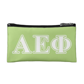 Alpha Epsilon Phi White and Green Letters Cosmetic Bag