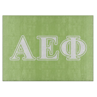 Alpha Epsilon Phi White and Green Letters Cutting Board