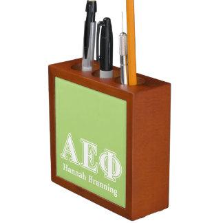 Alpha Epsilon Phi White and Green Letters Desk Organiser