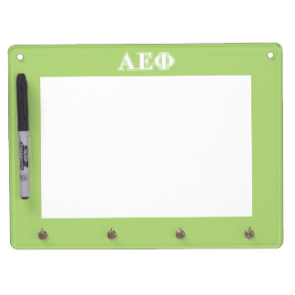 Alpha Epsilon Phi White and Green Letters Dry Erase Board With Key Ring Holder