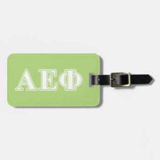 Alpha Epsilon Phi White and Green Letters Luggage Tag