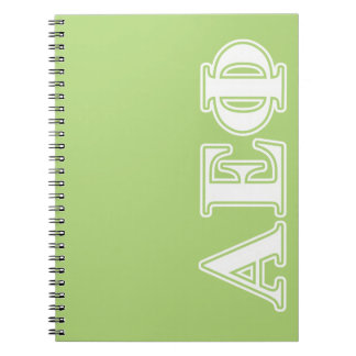 Alpha Epsilon Phi White and Green Letters Notebooks