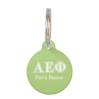 Alpha Epsilon Phi White and Green Letters Pet Tag