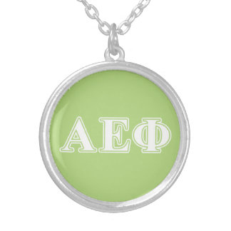 Alpha Epsilon Phi White and Green Letters Silver Plated Necklace
