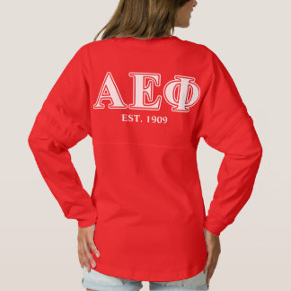 Alpha Epsilon Phi White and Green Letters Spirit Jersey
