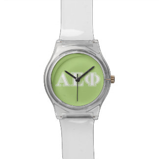 Alpha Epsilon Phi White and Green Letters Watch