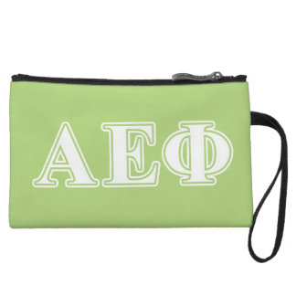Alpha Epsilon Phi White and Green Letters Wristlet