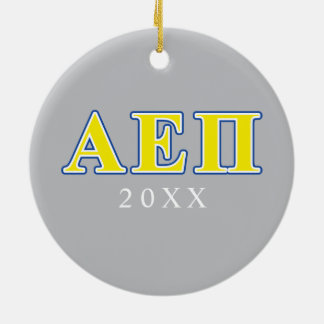 Alpha Epsilon Pi Blue and Yellow Letters Christmas Ornament