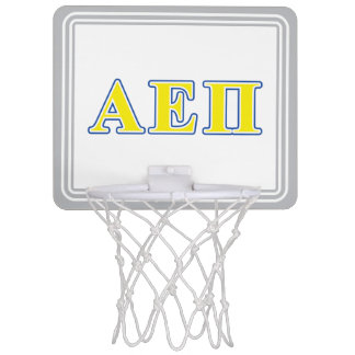 Alpha Epsilon Pi Blue and Yellow Letters Mini Basketball Hoop