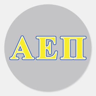 Alpha Epsilon Pi Blue and Yellow Letters Round Sticker