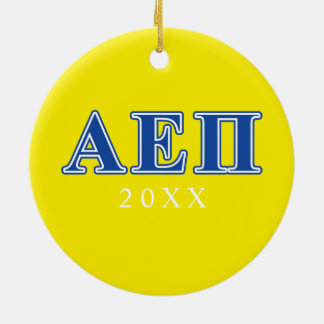 Alpha Epsilon Pi Blue Letters Christmas Ornament