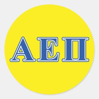 Alpha Epsilon Pi Blue Letters Round Sticker