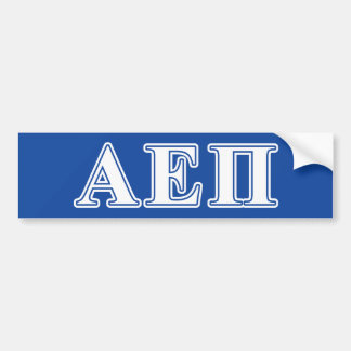 Alpha Epsilon Pi White and Blue Letters Bumper Sticker