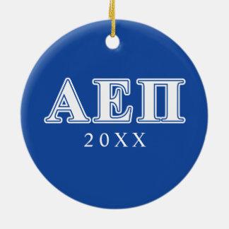 Alpha Epsilon Pi White and Blue Letters Christmas Ornament
